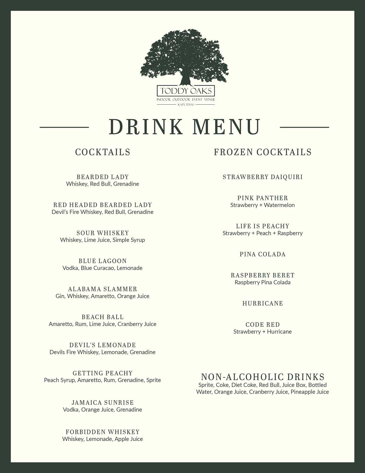 Toddy Oaks Bar Menu